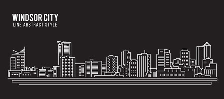ontario: Cityscape Building Line art Vector Illustration design - Windsor city Illustration