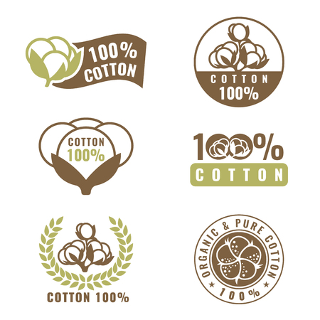 Cotton flower is organic and natural sign logo vector set design Stock Illustratie