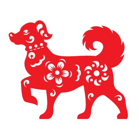 Roodpapier snijdt een hond-dierenriem en bloemsymbolen