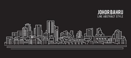 都市の景観建物ライン アート ベクトル イラスト デザイン - ジョホール州ジョホールバル市