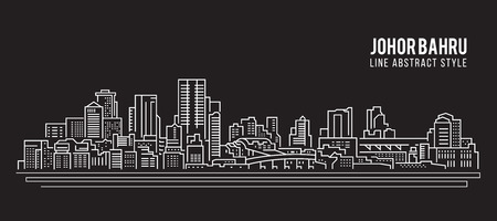 Cityscape rooilijn art Vector Illustratie design - Johor Bahru stad