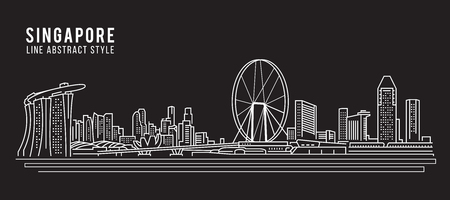 Cityscape Building Line art Vector Illustration design - Singapore city  イラスト・ベクター素材