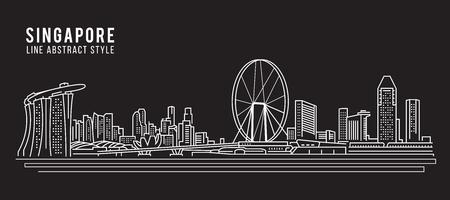Cityscape Building Line art Vector Illustration design - Singapore city Vettoriali
