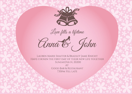 pink flower background: Wedding card - bell and text in pink heart on flower abstract background vector template design