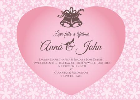 Invitación de boda - campana y texto en corazón rosado en diseño abstracto de la plantilla del vector del fondo de la flor
