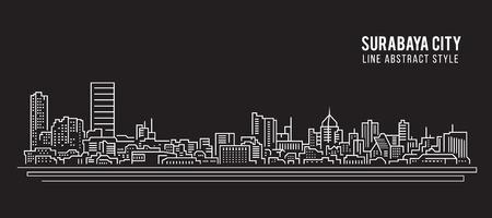 Cityscape Building Line art Vector Illustration design - Surabaya city