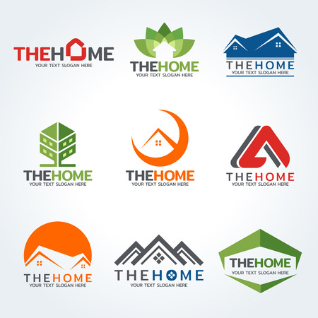 Het huis logo vector set art design Stock Illustratie
