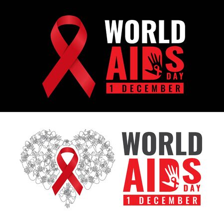 safe world: Red ribbon sign and world aids day text and hand banner vector design