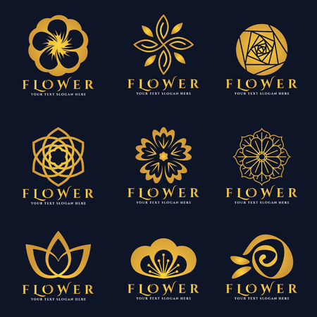 Gold Flower logo vector set art design Stock Illustratie