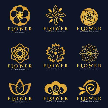 Złoty kwiat logo wektor zestaw sztuki projektowania