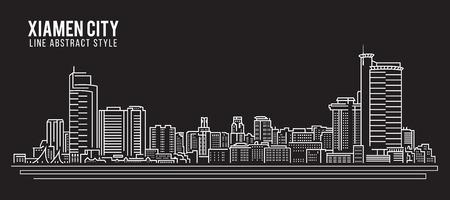 property of china: Cityscape Building Line art Vector Illustration design - Xiamen city Illustration