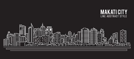 都市の景観建物ライン アート ベクトル イラスト デザイン - マカティ市