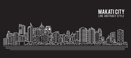 Cityscape Building Line art Vector Illustration design - Makati city Ilustração