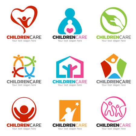 hearth and home: Children and care logo vector set design