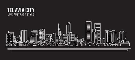 도시 건물 라인 아트 벡터 일러스트 레이 션 디자인 - 텔 아비브 도시