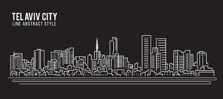 Cityscape Building Line art Vector Illustration design - Tel Aviv city