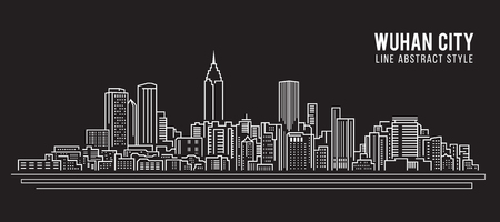 property of china: Cityscape Building Line art Vector Illustration design - Wuhan city
