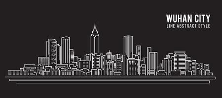 Allineamento dei fabbricati di paesaggio urbano progettazione dell'illustrazione di vettore di arte - città di Wuhan