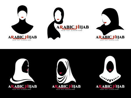 Arabic hijab for woman Islam logo vector set design