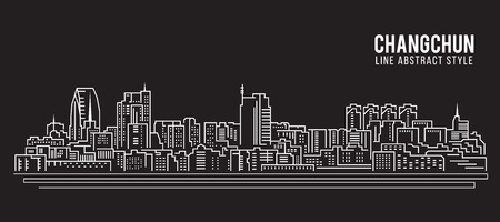property of china: Cityscape Building Line art Vector Illustration design - Changchun city