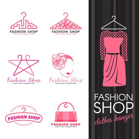 패션 가게 로고 - 분홍색 옷 걸이와 여자 얼굴 로고 벡터 세트 디자인