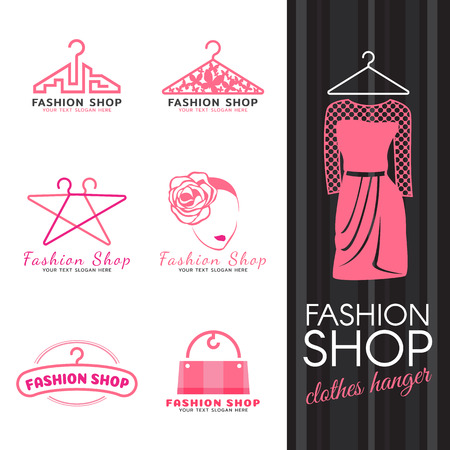 Fashion shop logo - pink clothes hanger and woman face logo vector set design Çizim