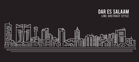 Cityscape Building Line art Vector Illustration design - Dar es Salaam city