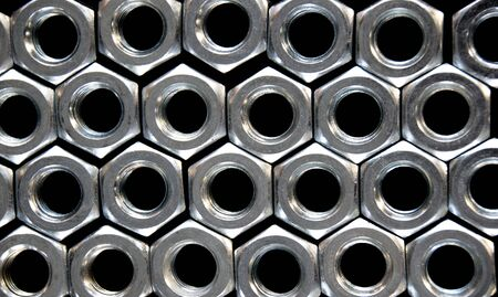 small group of objects: Close up hex nuts put row abstract style