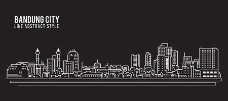 Cityscape Building Line art Vector Illustration design - Bandung city Illustration
