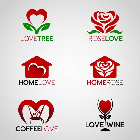 Heart and rose logo , home love logo and coffee and wine logo vector set design Logo