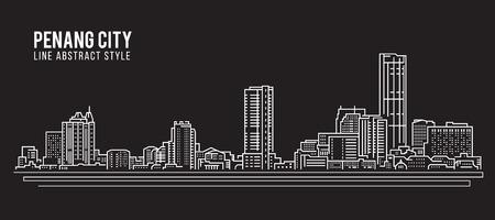 Cityscape Building Line art Vector Illustration design - Penang city