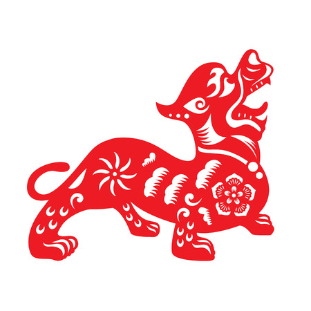 Red paper cut a Chinese dog  and flower symbols Illustration