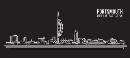 Cityscape Building Line art Vector Illustration design - Portsmouth city Illustration
