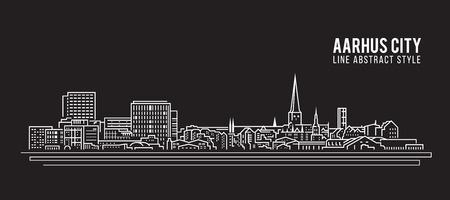 Allineamento dei fabbricati di paesaggio urbano progettazione dell'illustrazione di vettore di arte - città di Aarhus