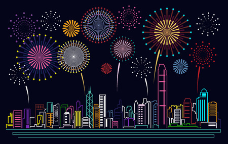 hong kong night: Cityscape Building Line Hong kong city and firework Vector Illustration design Illustration