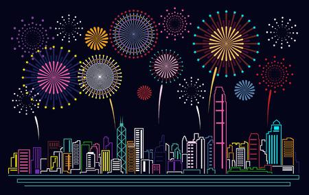 Cityscape Building Line Hong Kong stad en vuurwerk Vector Illustratie ontwerp