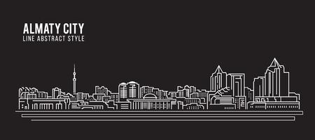 Paisaje urbano Línea de construcción Ilustración vectorial diseño - ciudad de Almaty