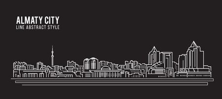 Cityscape Building Line art Vector Illustration design - Almaty city