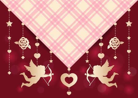 shooting: Cupid ,rose,star and heart hang on Scottish fabric vector art design for wedding card or valentines day
