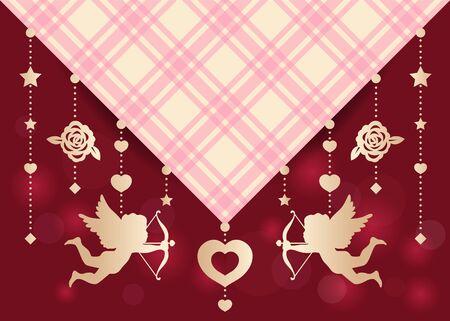 tiro al blanco: Cupido, rosa, estrella y el corazón se bloquea en el diseño escocés del arte del vector de la tela para la tarjeta de boda o día de San Valentín