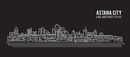 astana: Cityscape Building Line art Vector Illustration design - Astana city