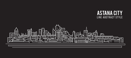 Cityscape Building Line art Vector Illustration design - Astana city