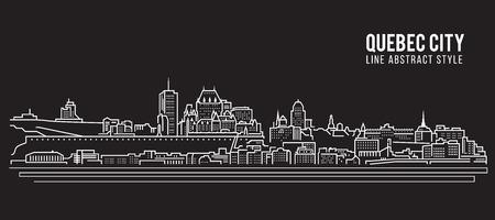 Cityscape Building Line art Vector Illustration design - Quebec city Vettoriali