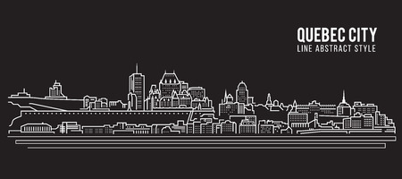 Cityscape Building Line art Vector Illustration design - Quebec city 向量圖像