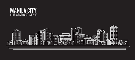 city landscape: Cityscape Building Line art Vector Illustration design -  Manila city
