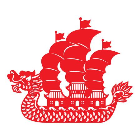 Rode papier snijden Dragon Chinese junkboot vector design