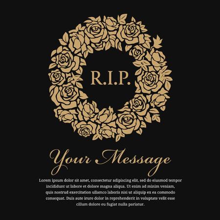 Funeral card - RIP tekst in de cirkel gouden krans roos vector ontwerp
