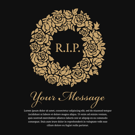 Funeral card - R.I.P. text in circle gold wreath rose vector design Vectores
