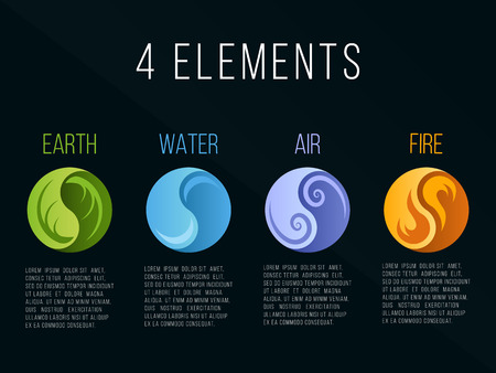 Nature 4 elements in circle yin yang abstract icon sign. Water, Fire, Earth, Air. on dark background.