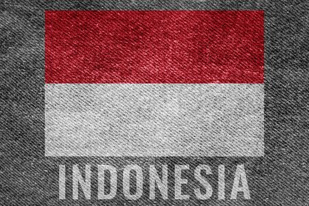 INDONESIA nation flag on jean texture design